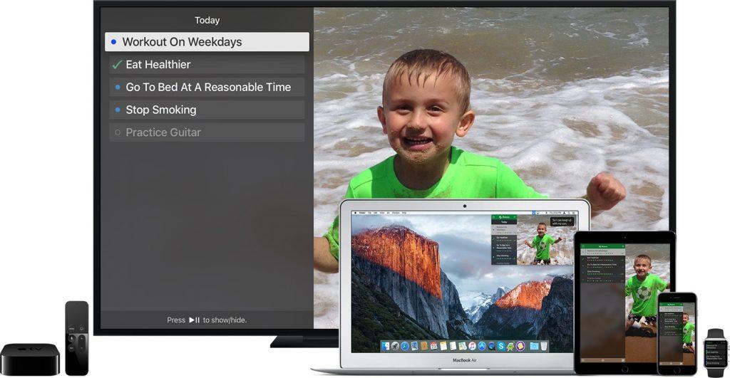 My Reasons runs on the Mac, iPhone, iPad, Apple TV, and Apple Watch